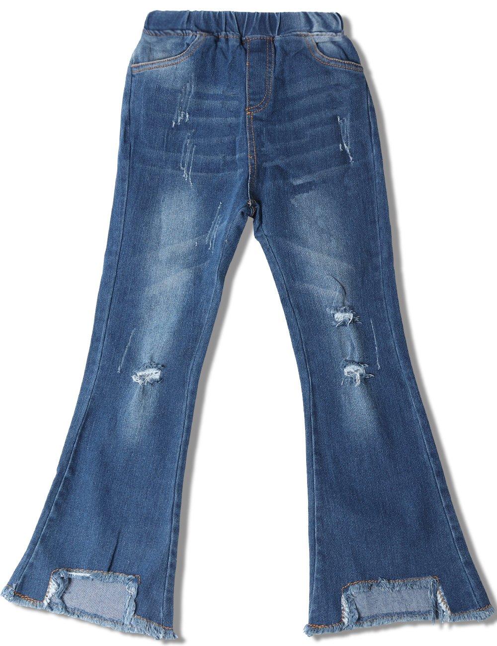 WIYOSHY Girls' Skinny Ripped Bellbottoms Elastic Waist Denim Jeans F919 (Blue, 10/12 (150))