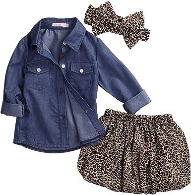 3PCS Baby Girls Romper Jumpsuit Cowboy Cloth Leopard Pants Outfits Clothes Set