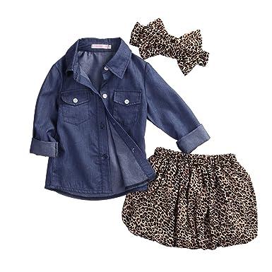 b0e5ac5e37c GRNSHTS Baby Girls Cowboy Skirt Set Blue Jean Shirt + Leopard Skirt +  Headband (80