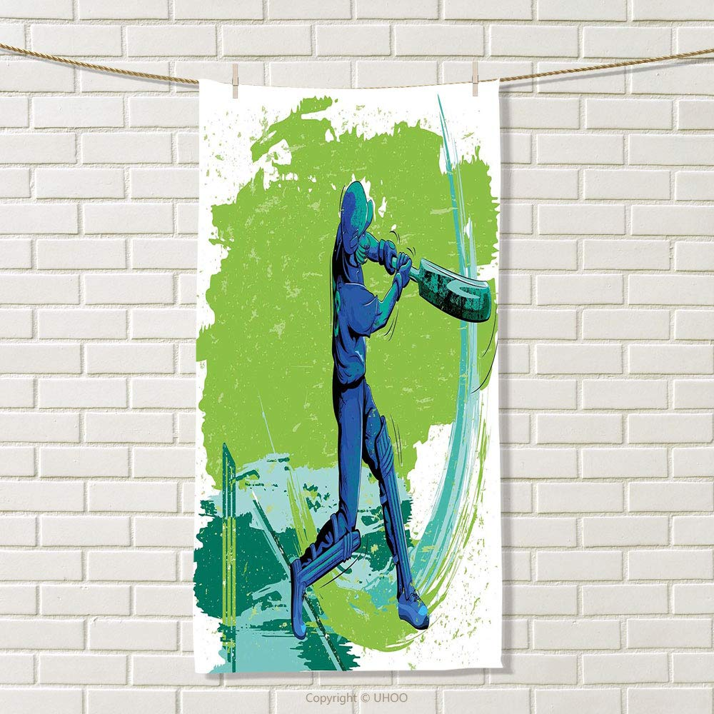 smallbeefly Sports Sports Towel Cricket Player Pitching Win Game Champion Team Paintbrush Effect Absorbent Towel Navy Blue Turquoise Lime Green Size: W 35.5'' x L 27''