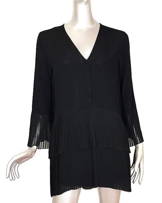 bf5d0fefde34f2 Zara Women's Contrasting Pleated Blouse 2731/243 (XX-Large) Black ...