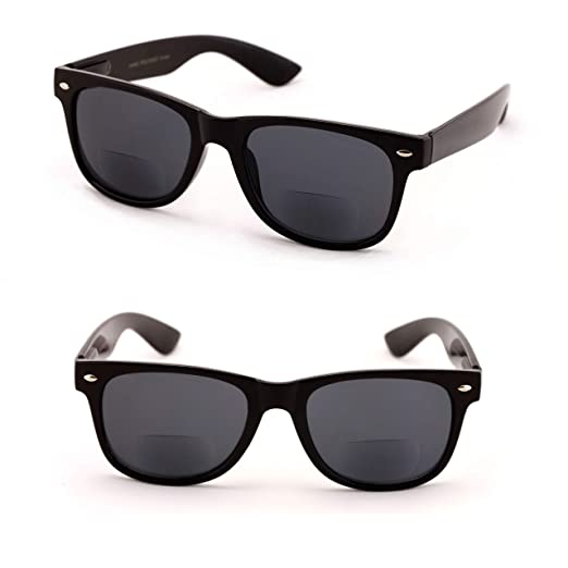 2f034b9a4c Classic Bifocal Outdoor Reading Sunglasses - Comfortable Stylish Simple  Readers Rx Magnification (2 Black Lens