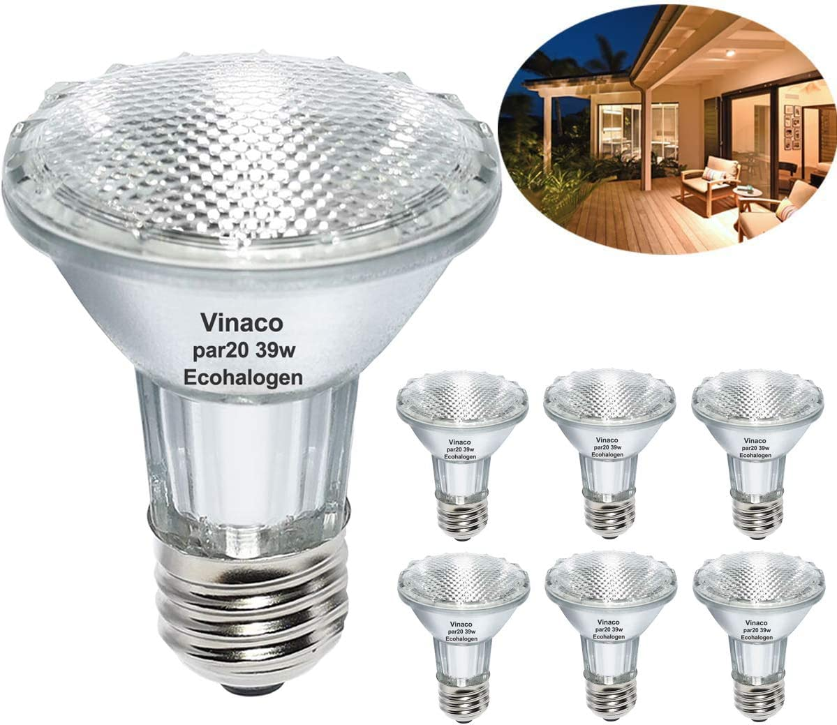 Vinaco PAR20 Halogen Light Bulbs, 6PCS 39W PAR20  Halogen Dimmable, 3000k Warm White, PAR20 Flood 39W 120V High Brightness Equivalent 50W for Indoor/Outdoor, Range Hood Light Bulbs, E26/Medium Base