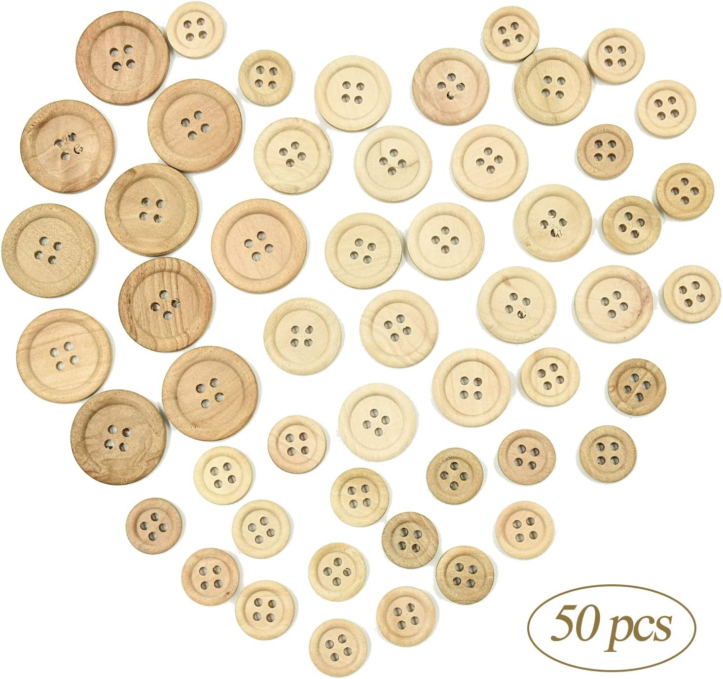 50 100 Mixed Wooden Buttons for Crafts Cardmaking Scrapbooking Sewing 15mm 25