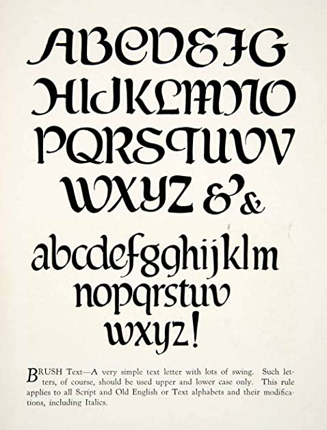 1928 Print Brush Text Typeface Graphic Font Decorative Alphabet Design Type