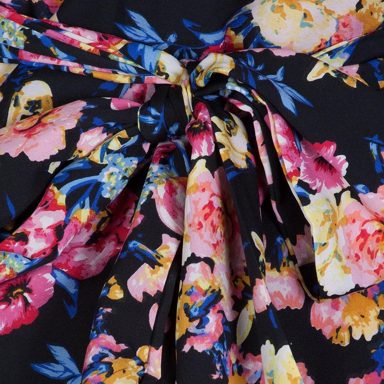 Pretty Kitty Fashion 50s Black Multi Floral Swing Dress