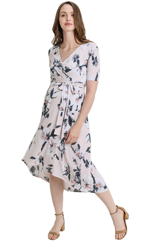 Hello MIZ DRESS レディース B07FNV96W2 Large|Blush/Grey Flower Blush/Grey Flower Large