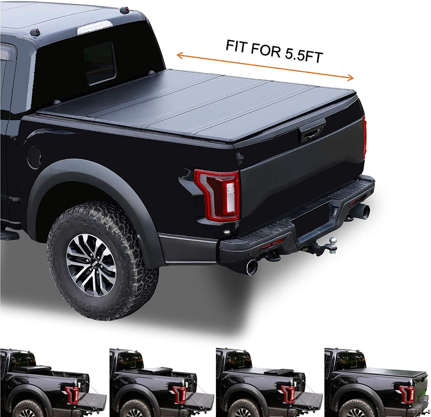Amazon Com Jj 5 5 67 1 Hard Quad Fold Top Truck Bed Black Frp Panel Tonneau Cover For 2015 2020 F 150 Pickup Not For Track System Hardware Kit Assembly Automotive