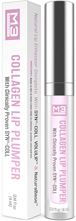 M3 Naturals Collagen Lip Plumper Clinically Proven Natural Lip Enhancer for Fuller Softer Lips Increased Elasticity Reduce Fine Lines Hydrating Plump Gloss Lipstick Primer 4 ml