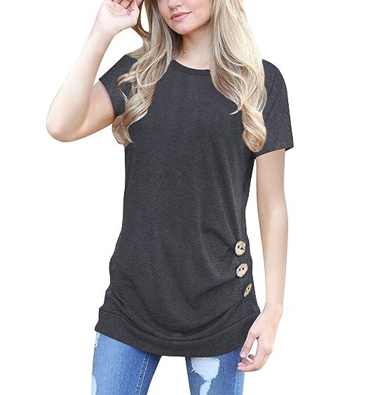 Mujer Camisetas Manga Corta Originales Basicas Cuello Dulce Lindo Chic Color Sólido T Shirt Verano Elegantes Vintage Moda Casual Top Blusa con Botones: ...