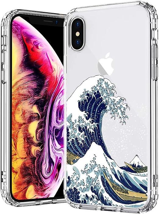 MOSNOVO MOSNOVO Tokyo Wave Coque pour iPhone XS/iPhone X, motif imprimé transparent en plastique rigide avec pare-chocs en TPU pour Apple iPhone ...