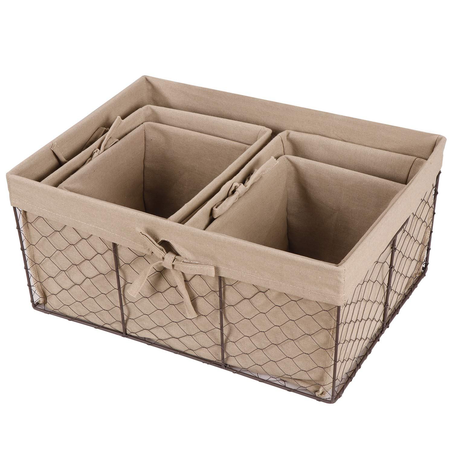 F2C Home Decor Set of 5 Vintage Toy Fruit Clothes Metal Chicken Wire Storage Basket Organizer W/Removable Fabric Liner for Bathroom Kitchen Office Nursery Laundry Bedroom Shelf by F2C (Image #2)