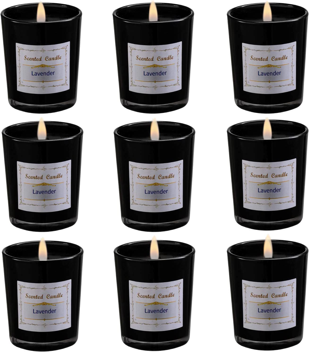 Set of 9 Scented Candles with 9 Fragrances, Natural Soy Wax Votive Candles for Party Dinner Yoga, Relaxing Gifts and Self Care Gifts(Black Color)