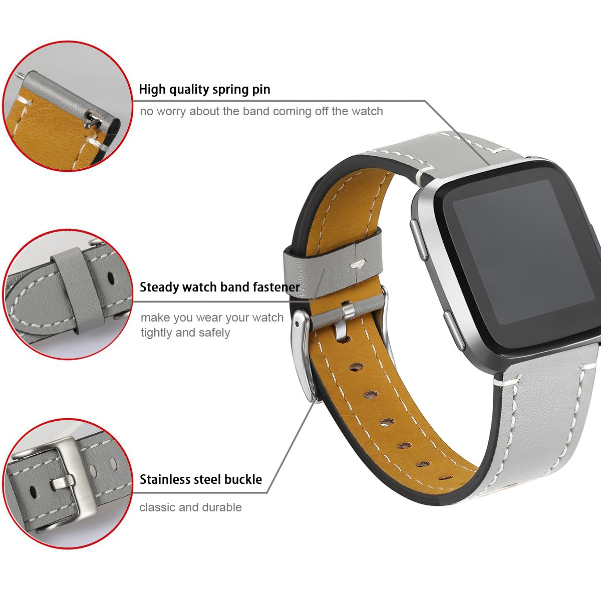 bayite For Fitbit Versa Bands, Classic Genuine Leather