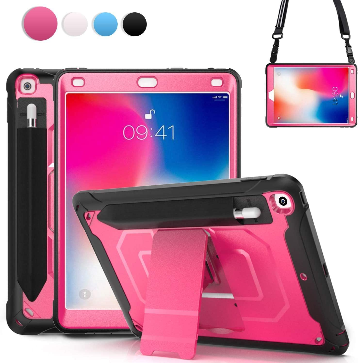 iPad 9.7 Case for Kids 2018 2017 | TSQ 6th Generation iPad Case Rugged Shockproof | Durable Hard Case w/ Elastic Pencil Pocket Stand Shoulder Strap for iPad 5th Gen A1822/A1823/A1954/A1893, Rose Red
