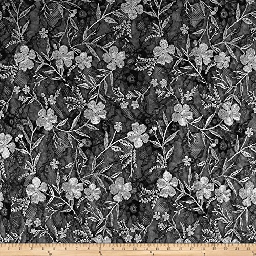 TELIO Elise Embroidered Chantilly Lace Fabric by The Yard, Grey ()