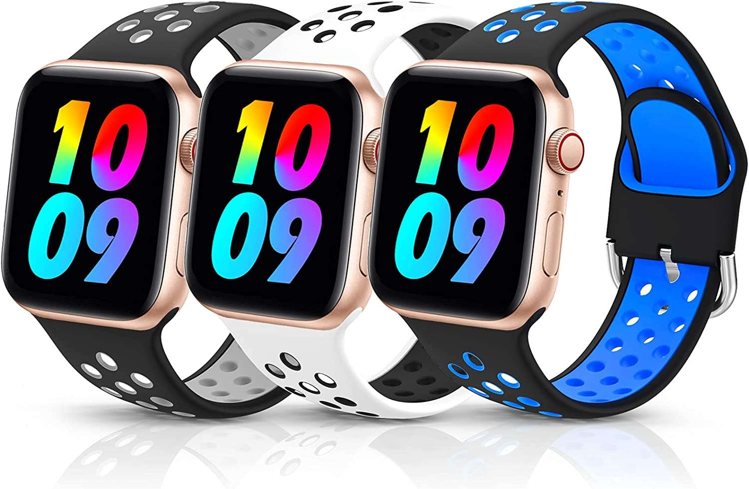 3 Pack Sport Silicone Bands Compatible with Apple Watch Bands 42mm 44mm Women Men, Breathable Soft Wristband Replacement Compatible for iWatch Series 6 5 4 3 2 1 SE(Color7,42MM/44MM)