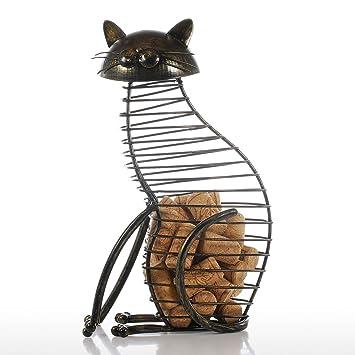 Metal gato figuras vino corcho comida estilo moderno hierro Craft regalo Animal Artificial Mini casa decoración accesorios: Amazon.es: Hogar