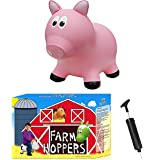 Farm Hoppers Award Winning Inflatable Bouncing Pink Pig with Pump
