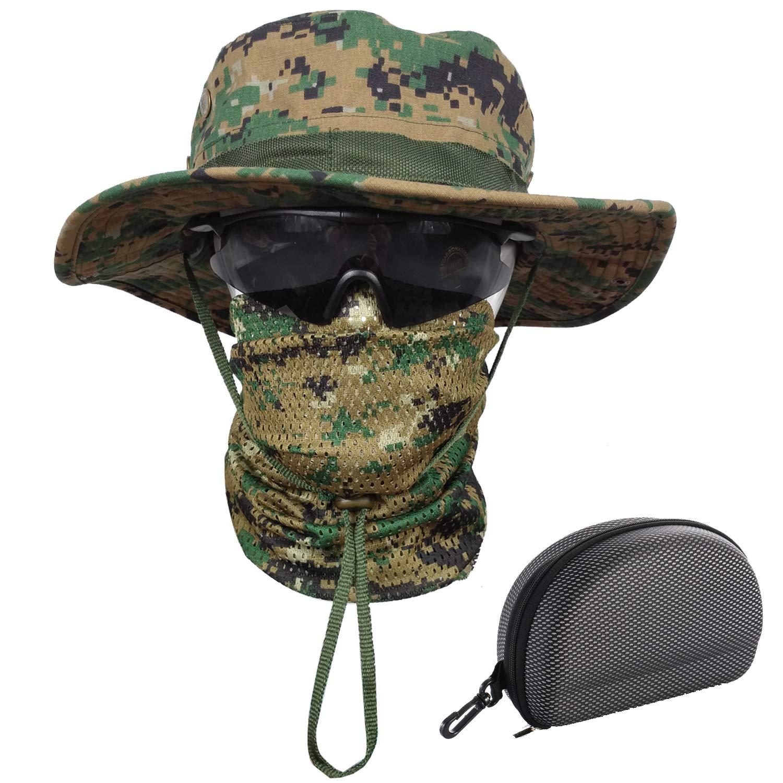QMFIVE Boonie Benna Hat Tesa larga per cappelli da sole per la pesca militare all'aperto Caccia da campeggio Airsoft QM052-BK