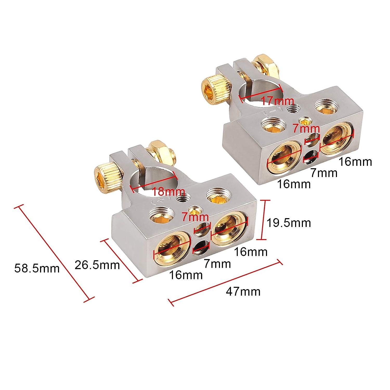 eSynic 2ps 2//8 Terminales de la Bater/ía del Coche con Cubierta Protectora para Cables de Secci/ón que Fijan Terminales Positivos y Negativos con 4 Salidas 4//8 AWG para Bater/ía de Autom/óvil