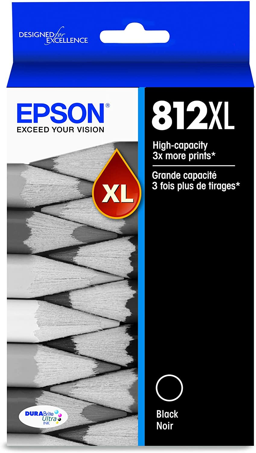EPSON T812 DURABrite Ultra Ink High Capacity Black Cartridge (T812XL120-S) for Select Epson Workforce Pro Printers