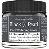 Black Pearl Activated Charcoal Teeth Whitening - Organic & All Natural - Remineralizing Tooth Powder - Anti-Bacterial - Made In USA - 2 oz Glass Jar