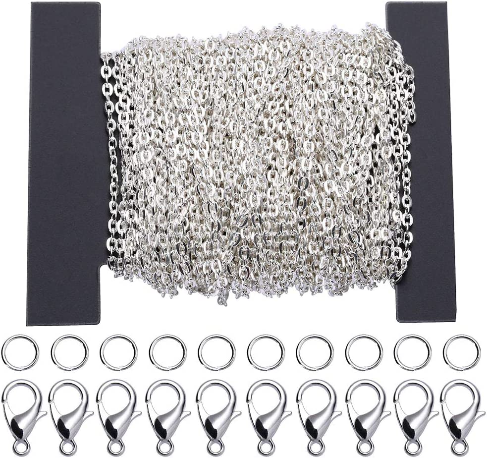 Siumir 39,4 Pies Cadena Plateada Cadena de Eslabones Metálicos 30 Cierres de Langosta 100 Anillos de Salto, para Fabricación de Joyería DIY (2,5 x 3mm)