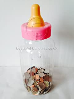 Pink Large Baby Bottle For Baby Showers! Baby Shower Game Fill With Coins,  Sweets