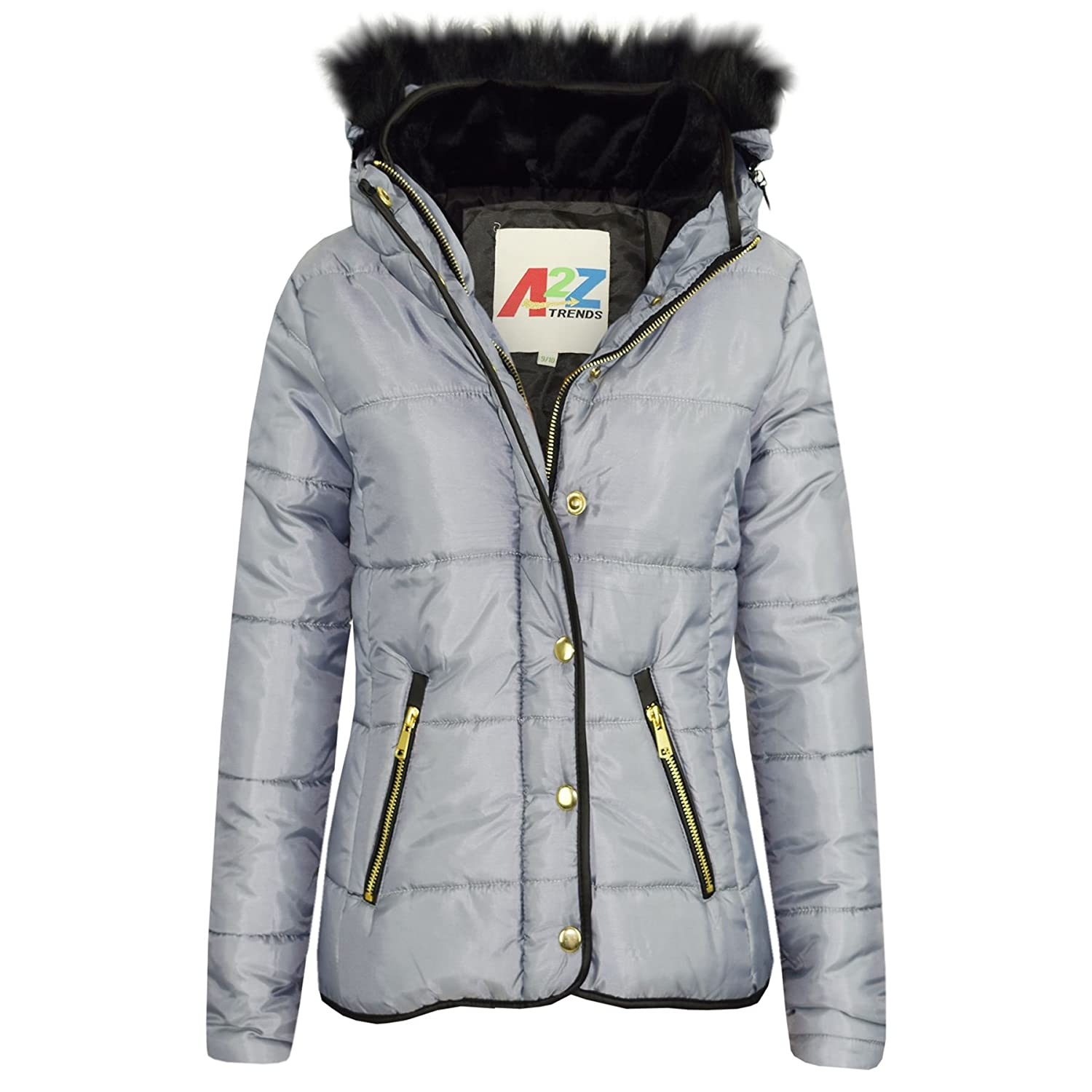 A2Z 4 Kids® Girls Jacket Kids Designer's Silver Padded Puffer Bubble Faux Fur Collar Quilted Warm Thick Coat Jackets Age 3 4 5 6 7 8 9 10 11 12 13 Years
