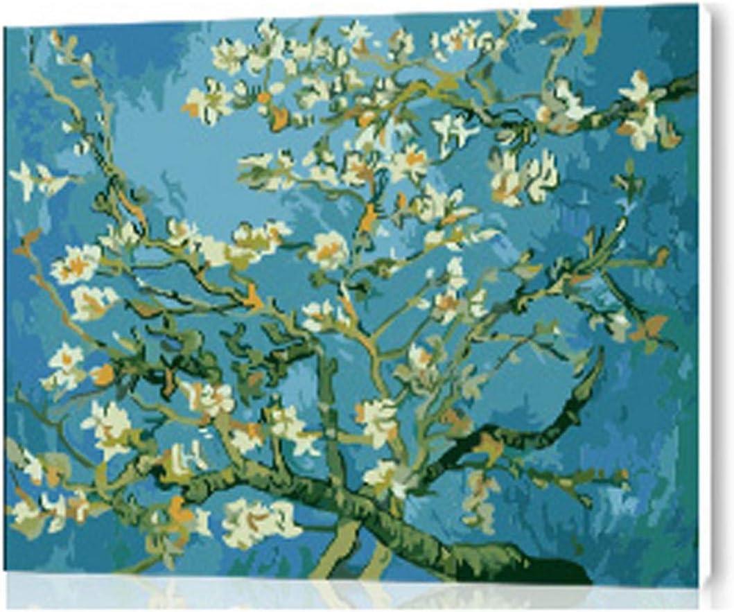 Blue Stor DIY Pintura al óleo Digital por números Cuadros la Pared Pintada a Mano Lienzo Pintura Arte Ramas de un Almendro en Flor-Marco blanco-16x20