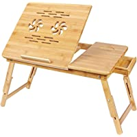 Hojo Bamboo Laptop Table for Bed Desk Holder Adjustable Portable Tray Tea and Coffee Cup Stand