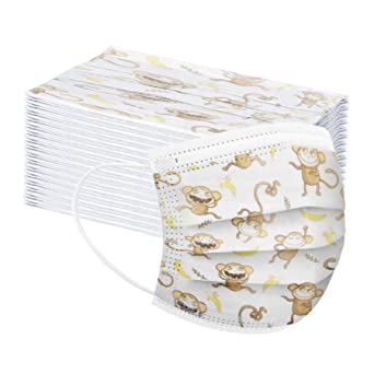 Oferta amazon: MaNMaNing Niños Protección 3 Capas Transpirables con Elástico para Los Oídos Pack 50 unidades 20200714-MaNMaN-NO05 (Mono y plátano)