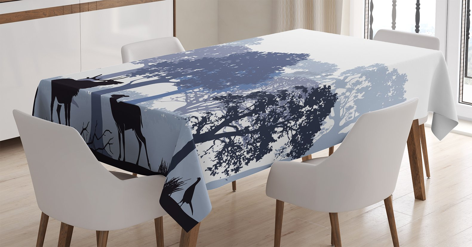 Ambesonne Moose Tablecloth, Gray Forest Design Abstract Woods North American Wild Animals Deer Hare Elk Trees, Dining Room Kitchen Rectangular Table Cover, 60 X 84 inches