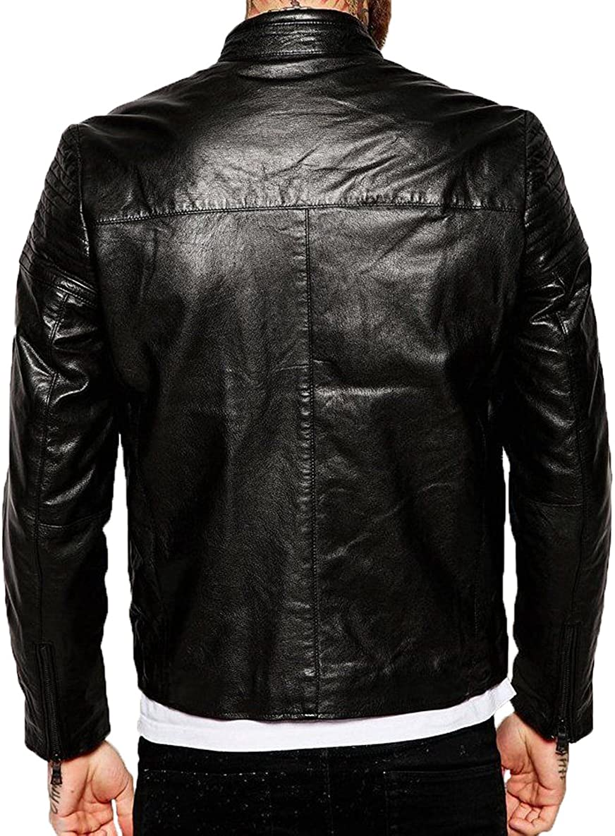 New Genuine Lambskin Leather Designer Jacket Motorcycle Biker Mens S M L XL T977