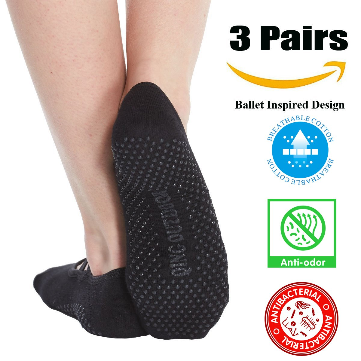 29c4909ae Women s No Show Low Cut Hospital Slipper Socks Great for Barre Pilates Yoga  with Non Skid Grips Pack of 3