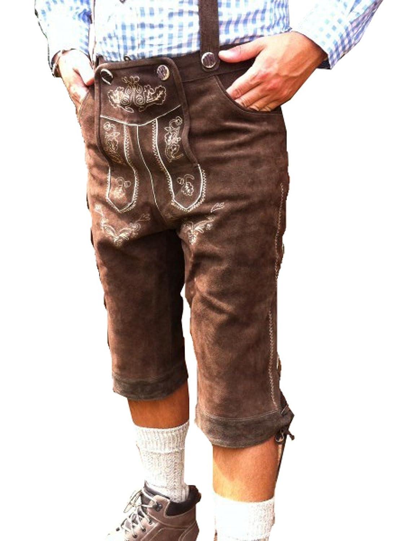 Kniebund Trachten Lederhose mit Trägern braun Oktoberfest 46 48 50 52 54 56