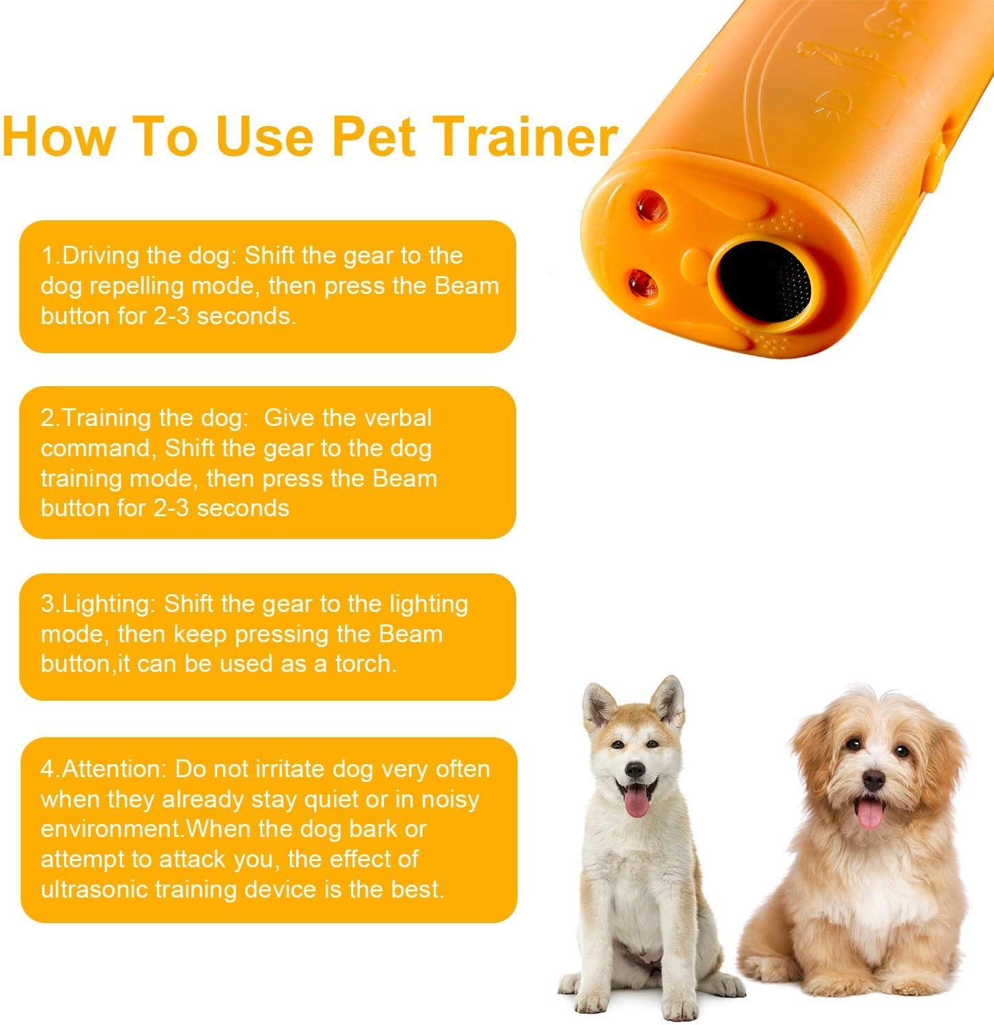 N-A Ultimate Canine Repeller Yellow Ultrasonic Dog Pet Repeller Training Device 3 in 1Handheld Dog Barking Deterrent Devices with LED Light Anti-Bark Dog Collar Stop Barking Training Control