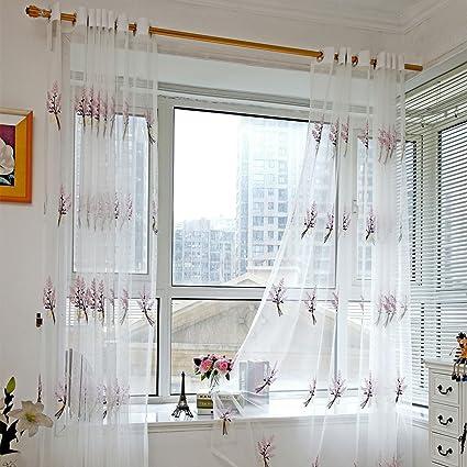Kolylong Rideaux Salon Design Moderne Solide Couleur Rideaux Voilages  Discount 200 * 100 (Blanc)