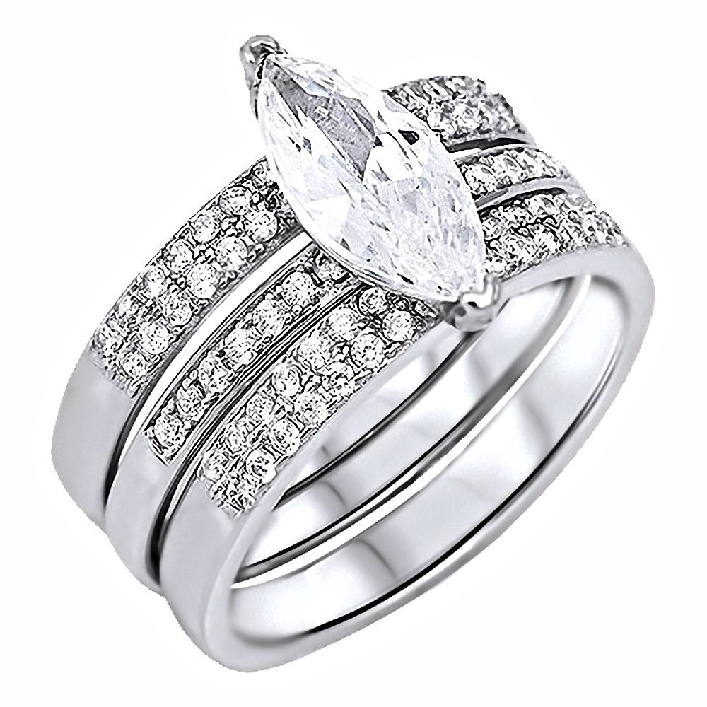 Amazon Abrielle 274ct Marquise Cut Ice On Fire Cz Micro Pave 2 Pc Wedding Ring Set Silver 3226 Sz 100 Jewelry: 2 Pc Wedding Ring Sets At Reisefeber.org