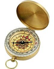 GWHOLE Portable Pocket Watch Flip-Open Compass Brass Metal Camping Hiking Compass