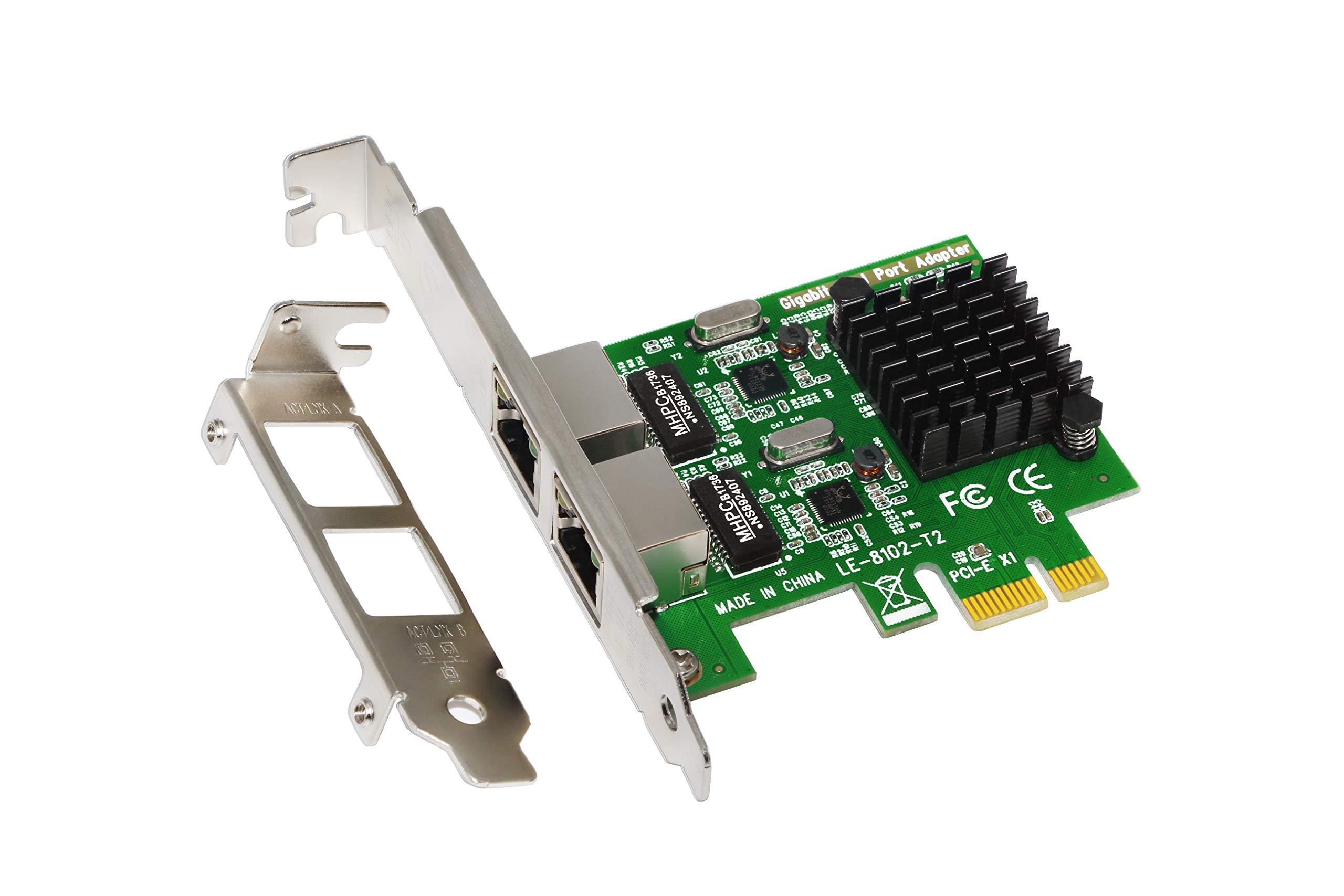 Padarsey RJ45 x 2 Gigabit LAN, tarjeta controladora de red PCI Express PCI-E Gigabit Ethernet, 10/100 / 1000mbps, tarjet