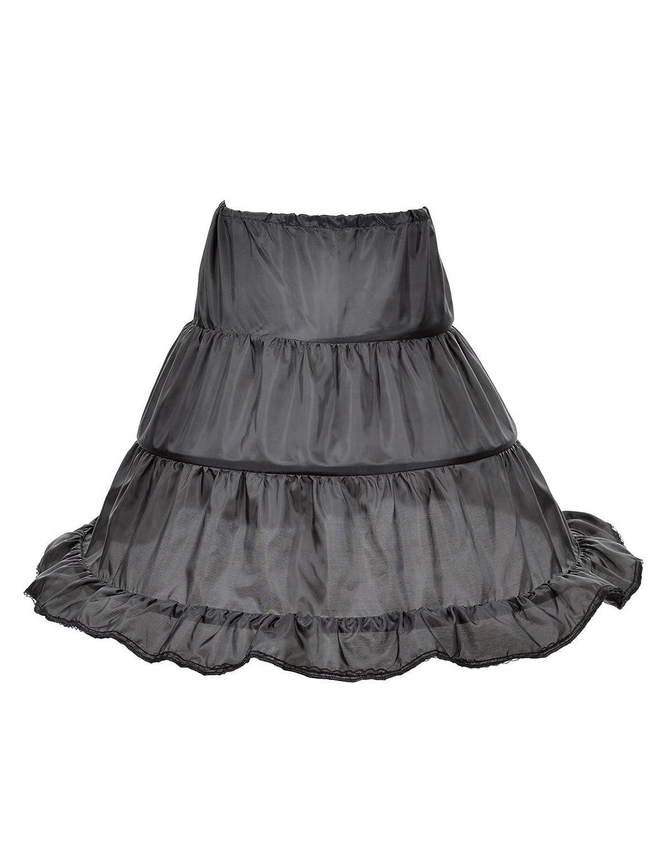 Remedios 3 Hoop Girl Petticoat Children Crinoline Half Slip Underskirt 18.5''Long Black 18.5' ' Long LWUKQC1615C30