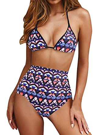 1731b2943b Amazon.com: Upopby Women's Sexy Triangle Halter Push Up Padded Bikini Set  Swimwear High Waisted Two Piece Swimsuits Bathing Suit: Clothing