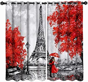 VividHome Red Romantic Window Curtains Paris Eiffel Towers with Lover Couple Pattern Print 2 Panel Set Window Treatments for Living Room Girls Bedroom Decor