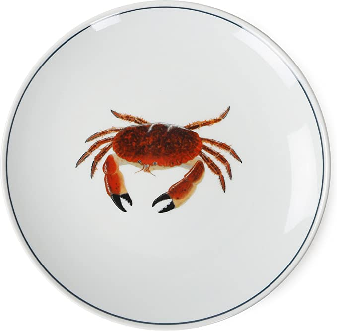 Jersey Pottery Seaflower Assiette 23/ cm/  / Crabe Blanc