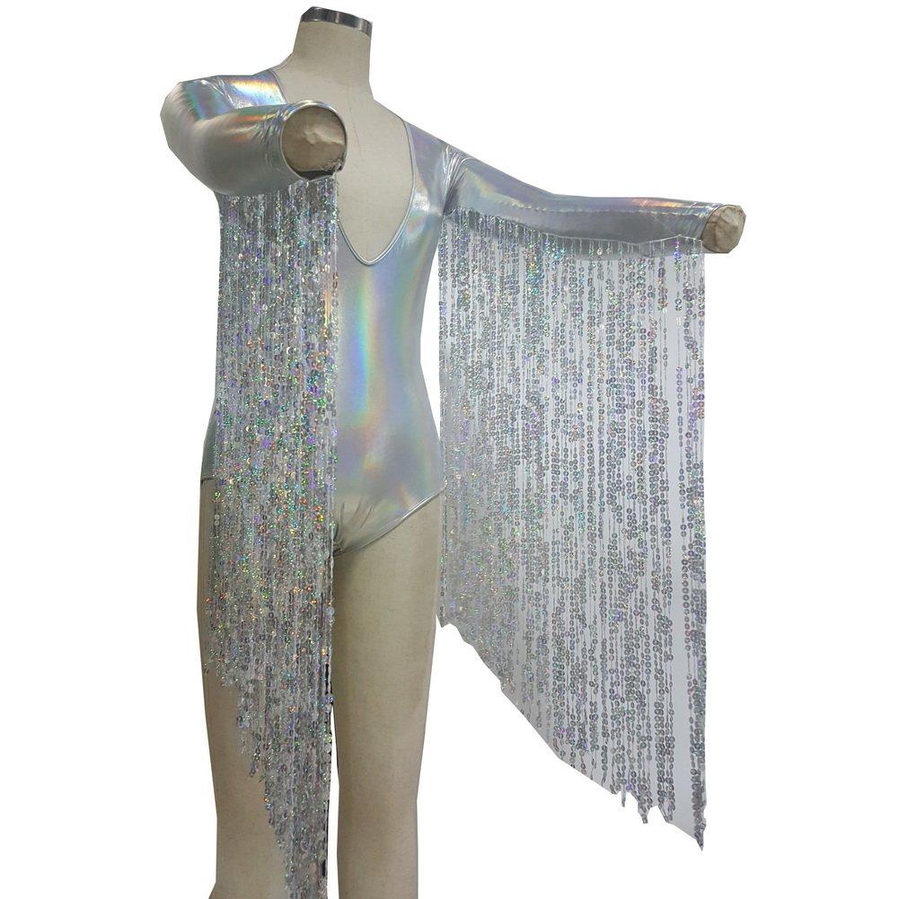 Boho Hippie Festival Rave Holographic Sequin Fringe Burning Man Bodysuit Alien Costumes Jumpsuit