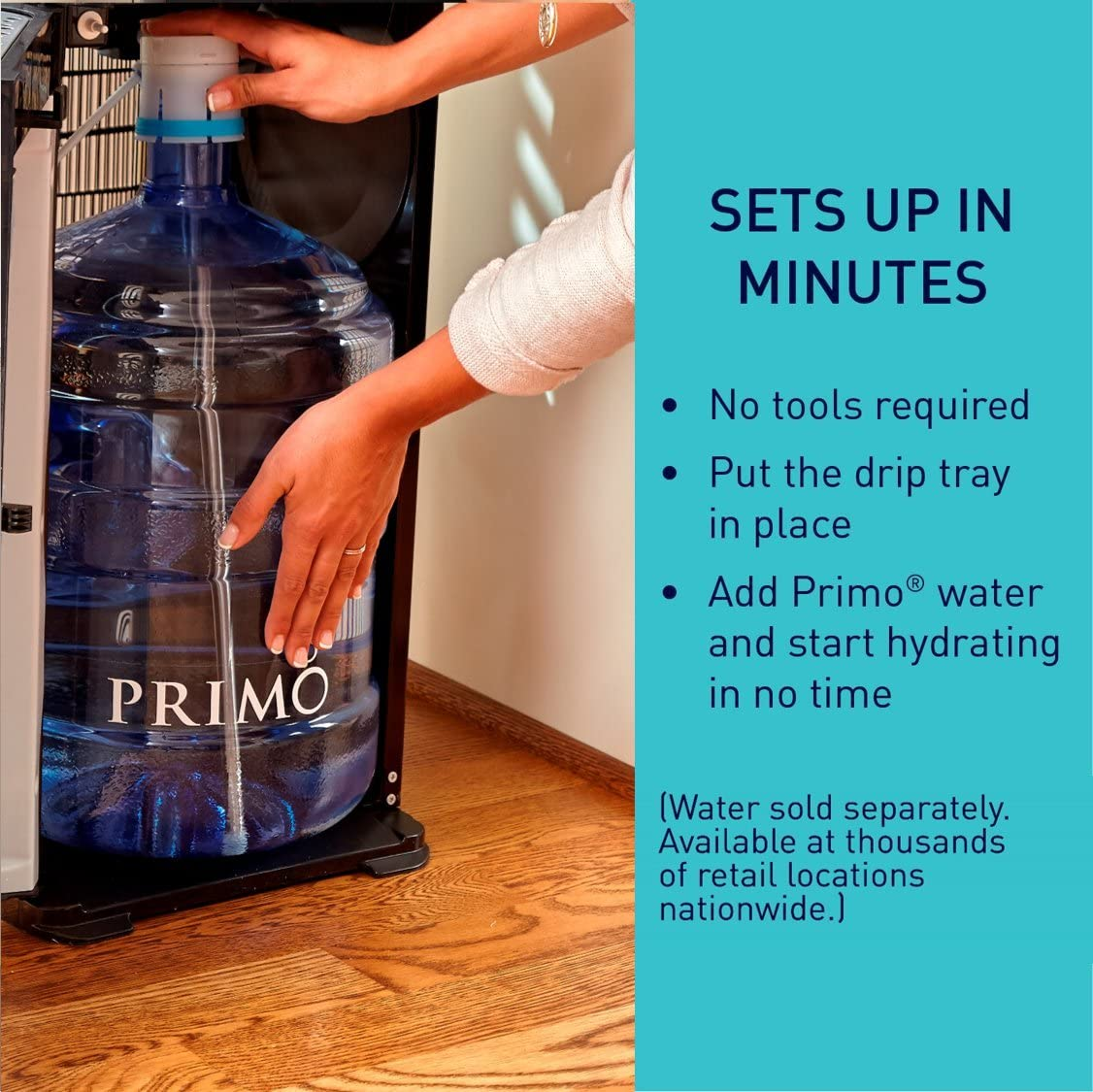 Primo Self-Sanitizing Bottom Load Water Cooler Dispenser - Setup in minutes