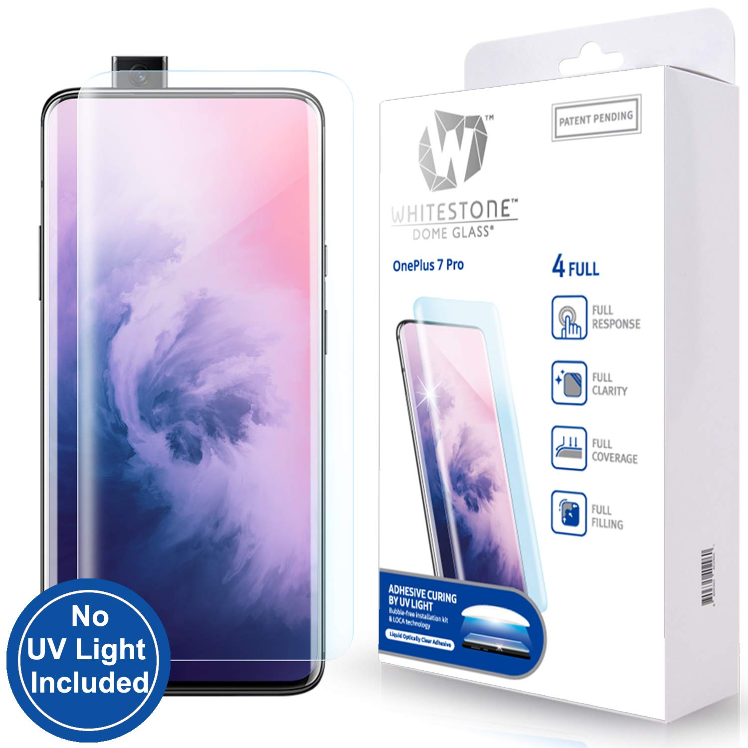 Tempered Glass Screen Protector for OnePlus 7T Pro 5G and 7 Pro [Dome Glass] 3D Exclusive Solution for Full Coverage Protection, Easy Replacement Kit by Whitestone for 7T Pro and 7 Pro Models - No UV Lamp by Dome Glass