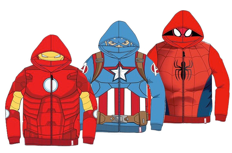 miglior servizio 02db3 1723c Felpa con Zip e Cappuccio con Maschera - Supereroi Spider-Man Captain  America Iron Man - Bambino - novità Prodotto Originale 6111HPD 0521HP